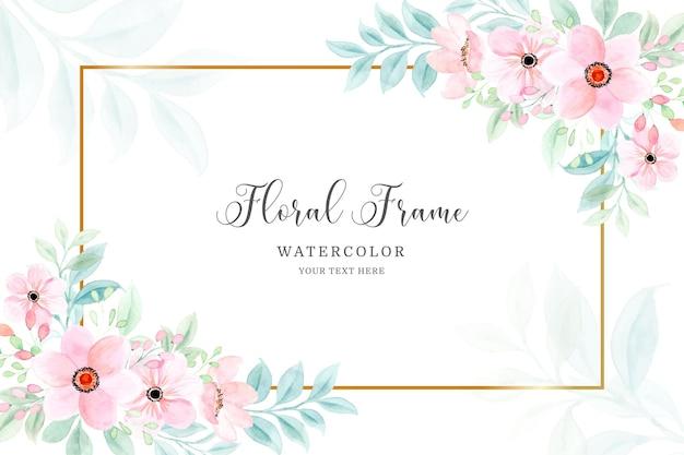 Aquarel roze bloem frame