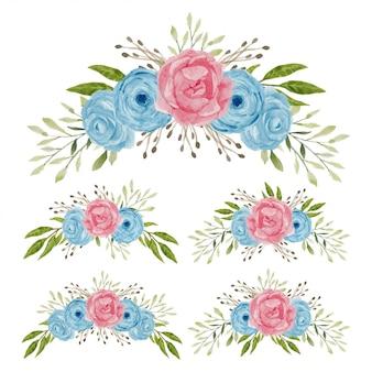 Aquarel roze bloemboeket collectie