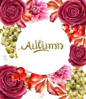 Aquarel roze bloemen en herfstbladeren wenskaart