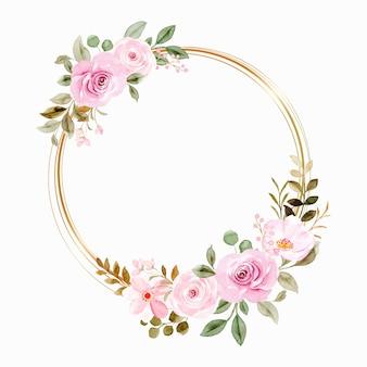 Aquarel roze bloemenkrans met gouden cirkel