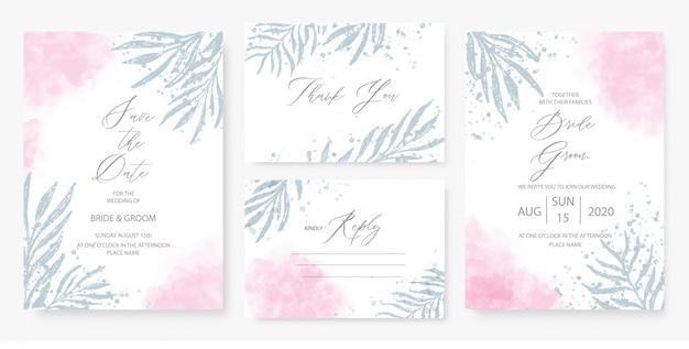 Aquarel roze bruiloft uitnodiging kaartsjabloon ingesteld met groene bloemendecoratie.