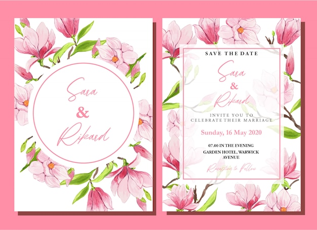Aquarel roze chinese magnolia bruiloft uitnodiging sjabloon set