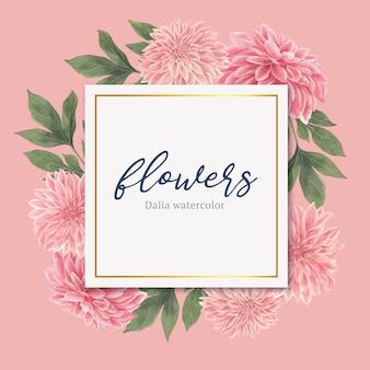 Aquarel roze dalia bloemen kaart