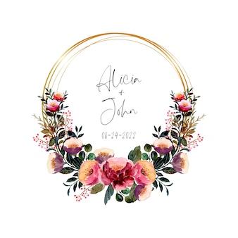 Aquarel roze paarse bloemen krans met gouden frame
