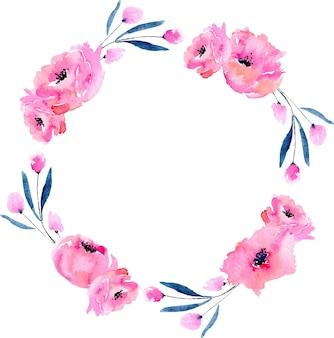 Aquarel roze papavers en blauwe takken krans