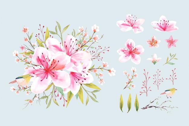 Aquarel roze perzik bloem bloesem met blad en groene vogel boeket in botanische stijl met geïsoleerde regeling set illustratie.