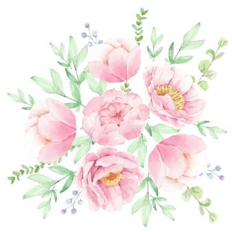 Aquarel roze pioen bloemboeket arrangement