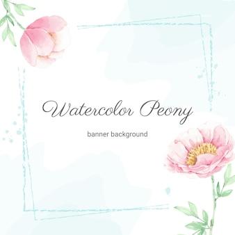 Aquarel roze pioen bloemboeket frame met splash banner achtergrond