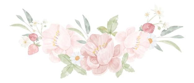 Aquarel roze pioen bloemboeket geïsoleerd