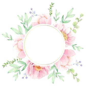 Aquarel roze pioen bloemboeket regeling krans met gouden cirkelframe