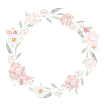 Aquarel roze pioenroos boeket op geplaatste eucalyptus tak krans frame