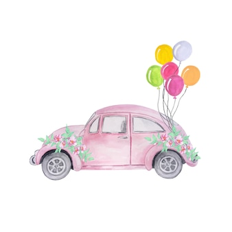 Aquarel roze retro auto's met een boeket paarse bloemen en ballonnen