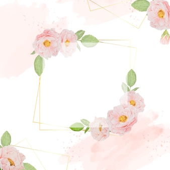 Aquarel roze rozen met gouden frame vierkante achtergrond