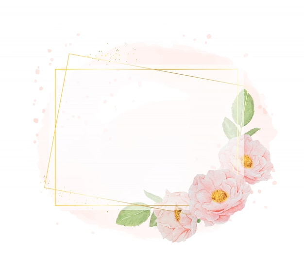 Aquarel roze rozen met gouden krans frame op aquarel achtergrond met kopie ruimte