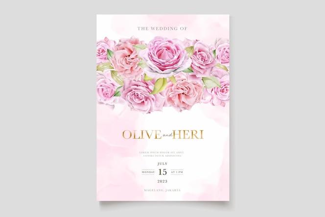 Aquarel roze rozen uitnodigingskaartenset