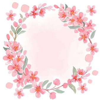 Aquarel roze sakura kersenbloesem vintage vierkante frame sjabloon