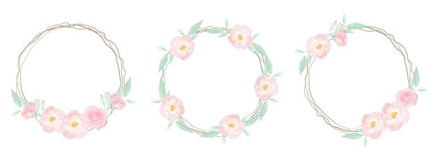 Aquarel roze wilde roos met droge takje frame krans op roze splash achtergrond