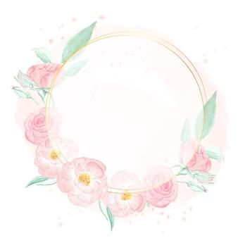 Aquarel roze wilde roos met gouden frame krans op roze splash achtergrond