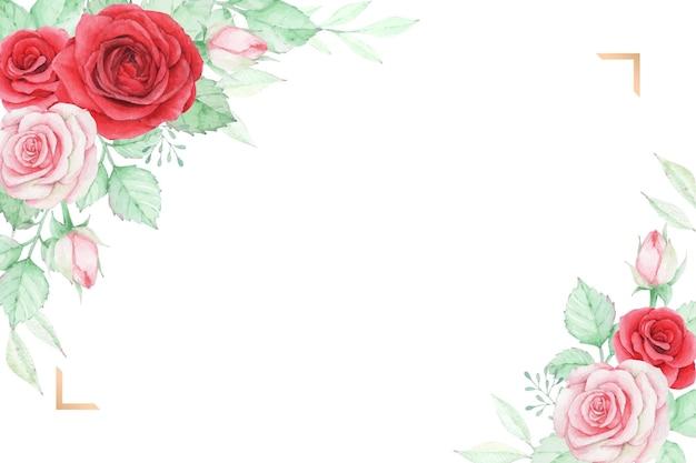 Aquarel rozen bloemen perfect voor bruiloft uitnodiging, wenskaart of ander afdrukontwerp