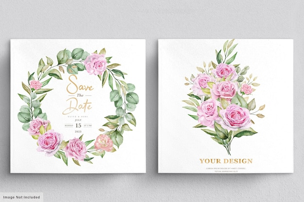 Aquarel rozen bruiloft uitnodiging kaartsjabloon