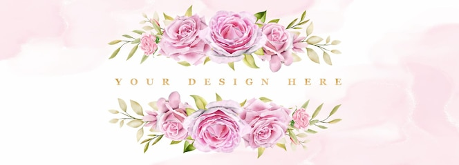 aquarel rozen ingelijste achtergrond