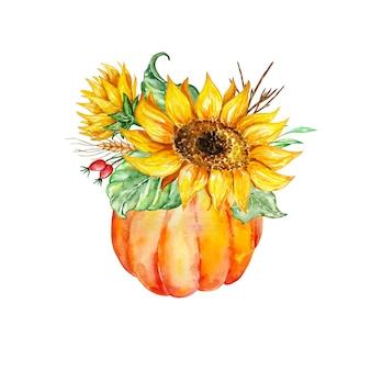Aquarel samenstelling fel oranje pompoen vaas met gele zonnebloemen en herfstbladeren
