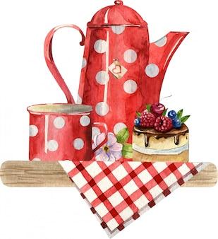 Aquarel samenstelling met theepot, cup, cake en bloemen op het geruite tafelkleed. gezellige keukeninrichting. handgeschilderde illustratie. engels ontbijt, vintage stijl