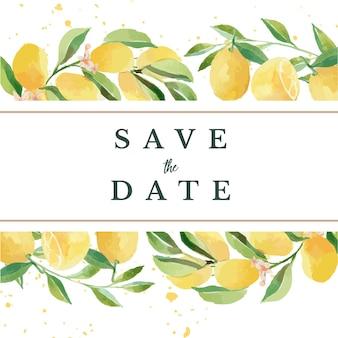 Aquarel save the date lemon floral frame template