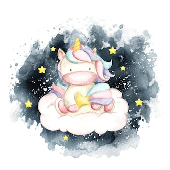 Aquarel schattig eenhoorn zittend op de wolk