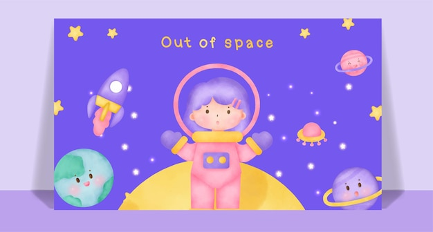 Aquarel schattig meisje uit de ruimte postkaart.