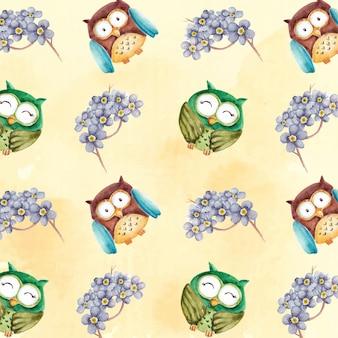 Aquarel schattig uil karakter met paarse bloemen patroon