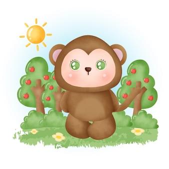 Aquarel schattige aap in het bos.