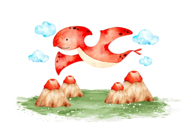 Aquarel schattige baby dinosaurus