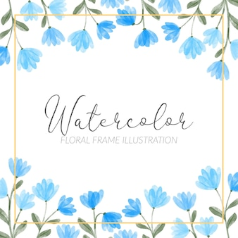 Aquarel schattige blauwe wildflower bloemen vierkante frame illustratie