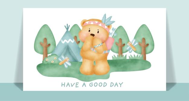 Aquarel schattige boho teddybeer in het bos wenskaart.