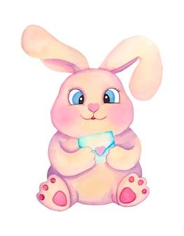 Aquarel schattige cartoon kinderen konijntje met letter. valentijnsdag illustratie.