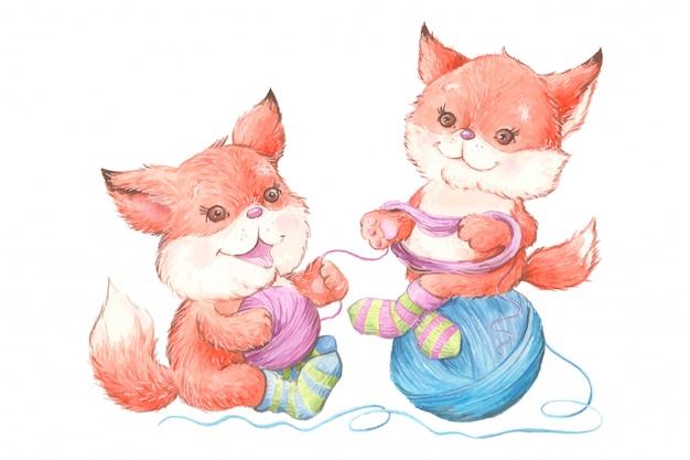 Aquarel schattige cartoon vossen in gebreide sokken met een bol garen