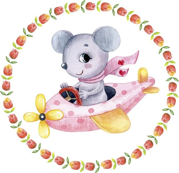 Aquarel schattige feestelijke illustratie van een muis in een roze vliegtuig wenskaart voor valentijnsdag