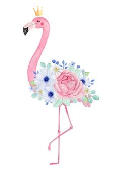 Aquarel schattige flamingo met kroon en exotische bloemen, anemoon, ranunculus, roos, madeliefje, hand getrokken illustratie.