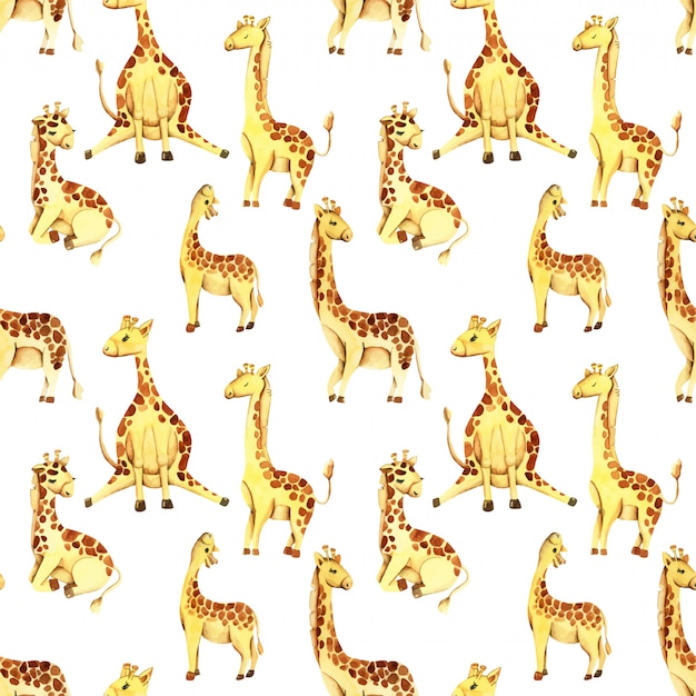 Aquarel schattige giraffen naadloze patroon