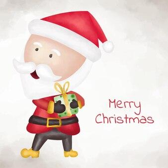 Aquarel schattige kerstman hand getekende illustratie