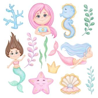 Aquarel schattige kleine zeemeermin illustraties