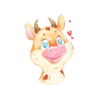 Aquarel schattige koe met hartjes
