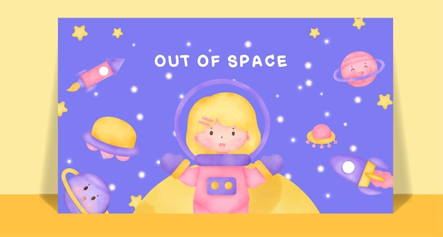 Aquarel schattige meisjes in ruimte postkaart. Premium Vector
