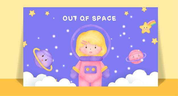 Aquarel schattige meisjes in ruimte postkaart.