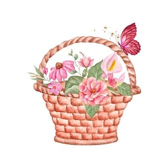 Aquarel schattige mooie bloemenmand met bloemenornamenten en vlinder