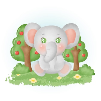 Aquarel schattige olifant in het bos.