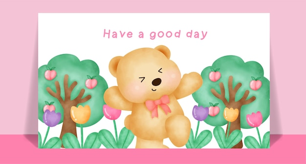 Aquarel schattige teddybeer in bloementuin voor wenskaart.