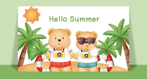 Aquarel schattige teddybeer in de zomertijd.