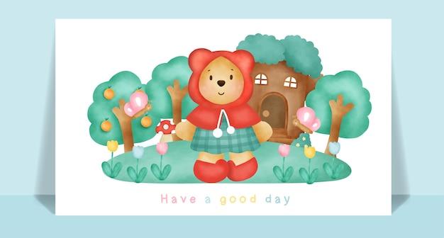 Aquarel schattige teddybeer in het bos voor wenskaart